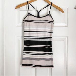 Lululemon Power Y Tank w/ Nude and Black Stripes